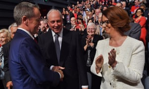 Bill Shorten with former prime ministers Paul Keating and Julia Gillard at a Labor campaign launch