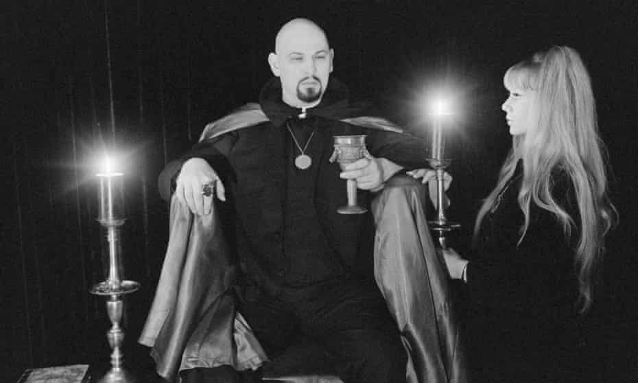 The late Church of Satan founder Anton Szandor LaVey and his partner, Diane Hegarty, at a ceremony in California.