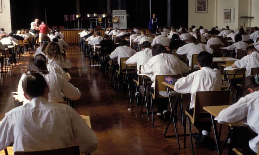 Schoolchildren sitting exam
