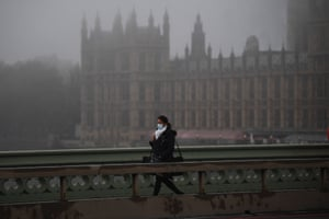 A view of Westminster Bridge in London in foggy conditions