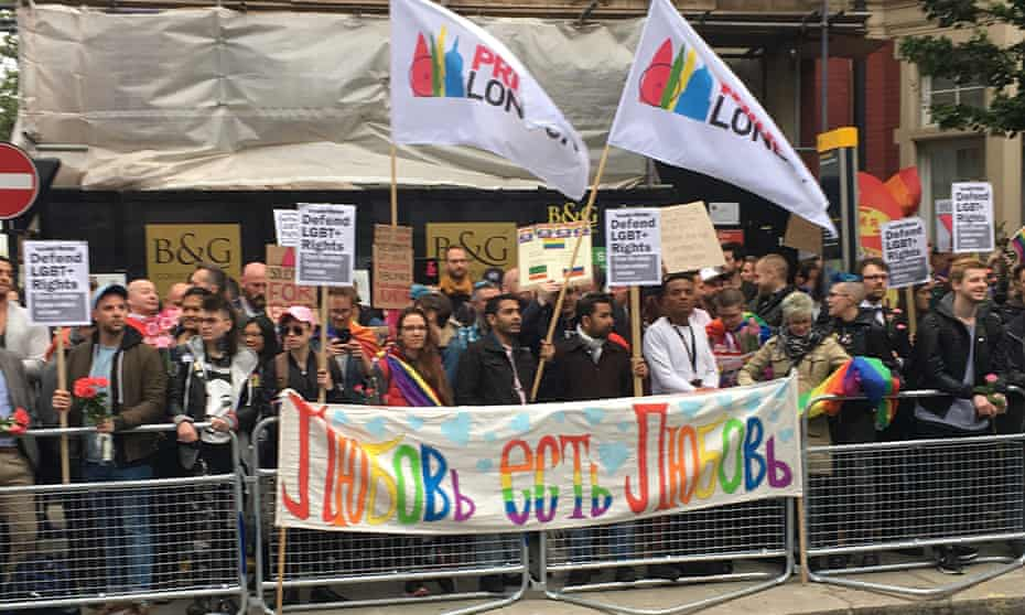 Protest at Russian embassy in London, following reports of the torture and murder of gay men in Chechnya.