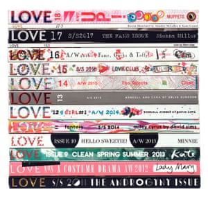 Love magazines photographed by artist Mark Vessey