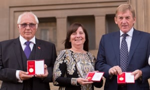 Trevor Hicks, Margaret Aspinall and Kenny Dalglish