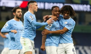 Raheem Sterling is congratulated after scoring.