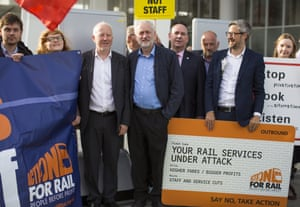 Jeremy Corbyn (C) the leader of the Labour party with RMT Union members outside London Bridge Station to launch 'Transport Tuesday', on August 16, 2016 in London, England.
