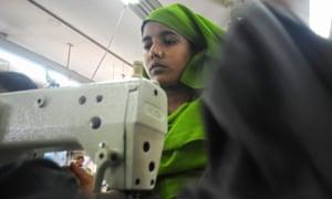 A Bangladeshi woman in a garments factory in Ashulia, Dhaka, in 2010.