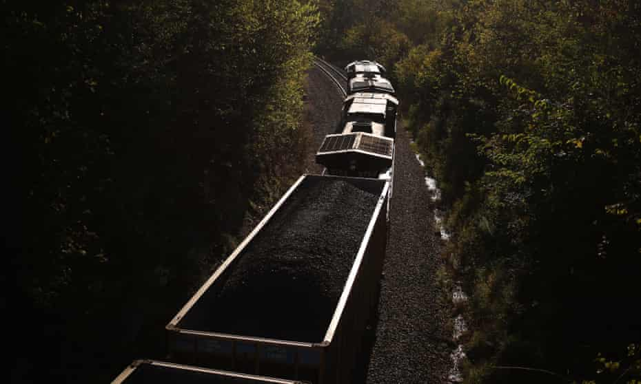 A coal train passes through Waddy, Kentucky.