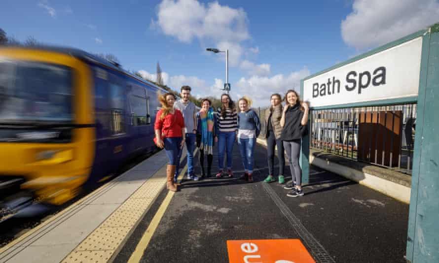 Students at Bath Spa station