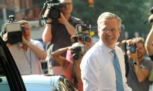 Republican presidential hopeful and former Florida governor Jeb Bush arrives for his interview on the Late Show with Stephen Colbert in New York on Tuesday.