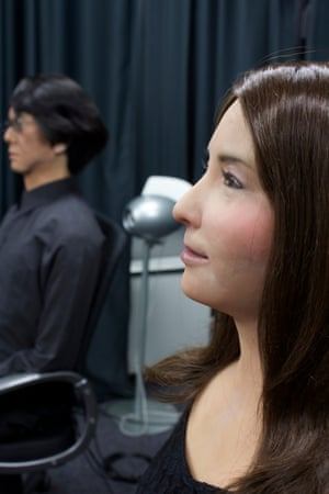Geminoid HI-1 - a humanoid made in Ishiguro's likeness (left) and Geminoid F, the world's first humanoid actor.