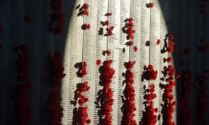 Poppies are seen at the Roll of Honour at the Australian War Memorial