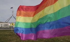 LGBTIQ flags outside Parliament House