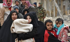 Syrians flee the rebel-held eastern part of Aleppo
