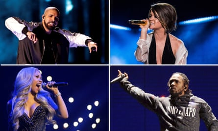 Out in front ... (clockwise from top left) Drake, Maren Morris, Kendrick Lamar and Cardi B.