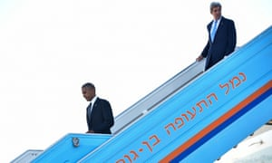 Barack Obama and John Kerry walk off Air Force One at Ben Gurion airport, near Tel Aviv, on Friday.
