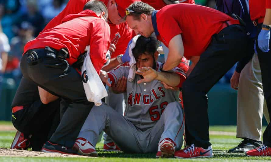 Matt Shoemaker of the Los Angeles Angels suffered a skull fracture on Sunday and had emergency surgery to stop the bleeding.