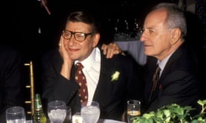 Yves Saint Laurent (left) and Pierre Bergé at a launch party for the designer's perfume Champagne, in September 1994.