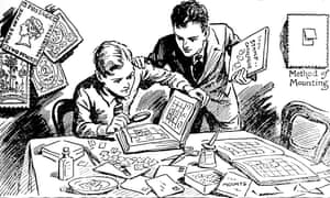 'Joys of  Stamp Collecting', 1937. Black and white illustration from The Children's Golden Treasure Book for 1937.