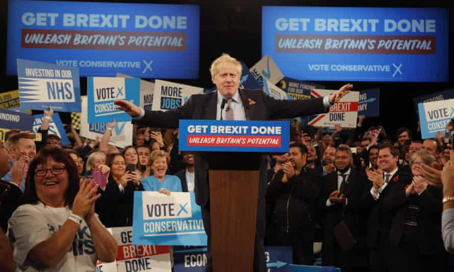 Boris Johnson at an election campaign event at the NEC in Birmingham, November 2019