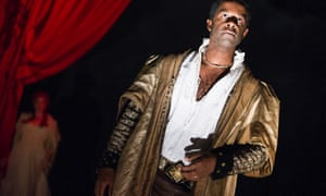 Adrian Lester plays Ira Aldridge - playing Othello - in Lolita Chakrabarti's Red Velvet at the Garrick Theatre.
