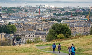 The view from Calton Hill in Edinburgh looking north towards Leith with the Firth of Forth and Fife beyond.<br>FD3026 The view from Calton Hill in Edinburgh looking north towards Leith with the Firth of Forth and Fife beyond.