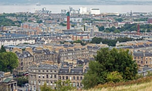 The view from Calton Hill in Edinburgh looking north towards Leith