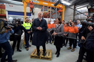 Malcolm Turnbull speaks to workers during a visit to a carbon fibre manufacturer, Quickstep, in Geelong, on Thursday.