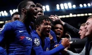Chelsea celebrate Reece James's equaliser