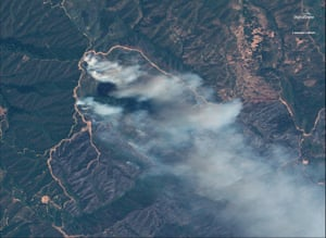 A satellite image shows part of the Mendocino complex fire in California.
