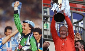 Steve Ogrizovic celebrates Coventry's FA Cup final win of 1997 as a player and the Checkatrade Trophy triumph as a coach 30 years later.