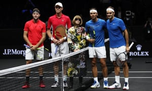 Lining up ahead of a match between Jack Sock and Sam Querrey and Roger Federer and Rafael Nadal in Prague in 2017. Wintour is a lifelong tennis fan and pal of Federer.