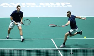 Neal Skupski and Jamie Murray during their semi-final doubles rubber against Spain's Rafael Nadal and Feliciano López