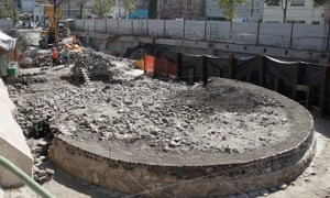 The newly uncovered remains of a temple that was built more than 650 years ago are visible at an archaeological site in the Tlatelolco neighbourhood of Mexico City.