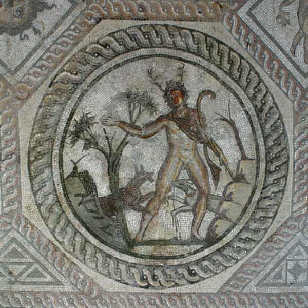 Part of the Seasons mosaic on display at the Corinium depicts the Greek hero Actaeon being attacked by hunting dogs.