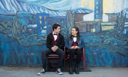 Dylan Minnette and Katherine Langford in episode two of 13 Reasons Why.