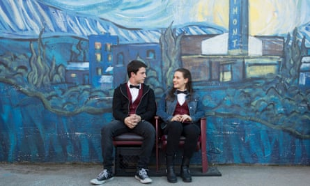 Though it is funny, at times, it is largely one-note – and that note is horrifying … Dylan Minnette and Katherine Langford as Clay and Hannah.