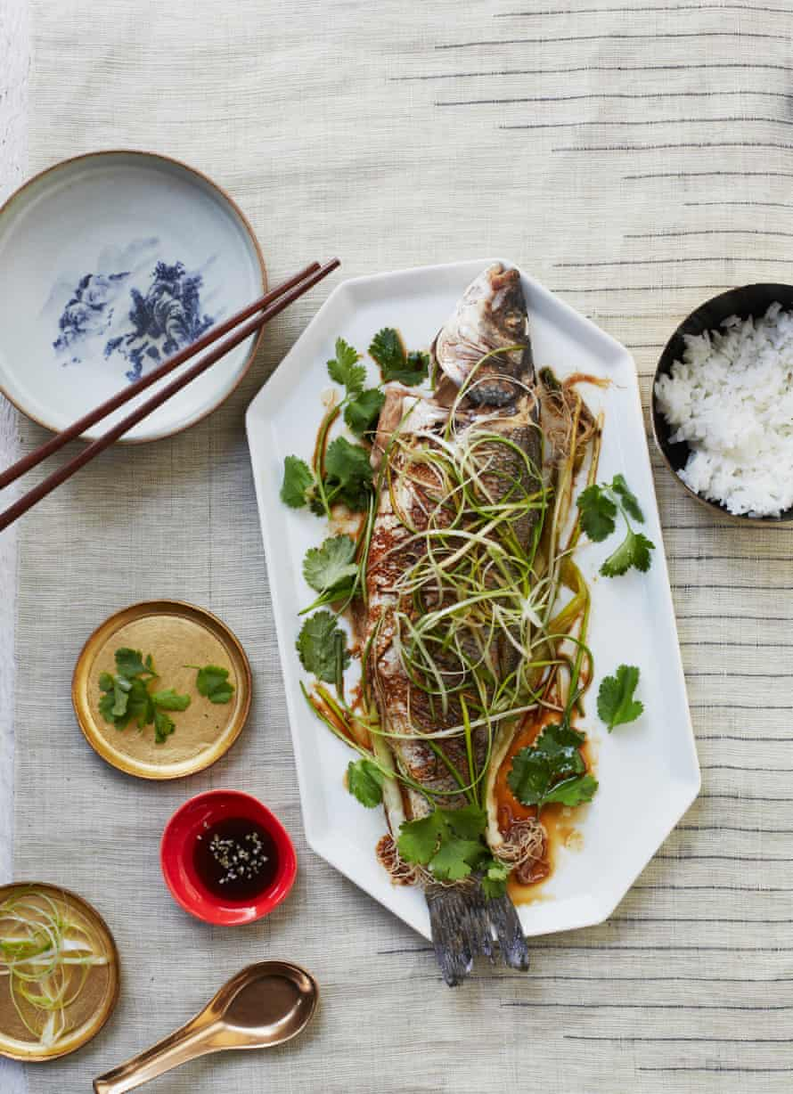 Andrew Wong's steamed sea bass with ginger and spring onion: the kind of dish you want to see at a celebration.