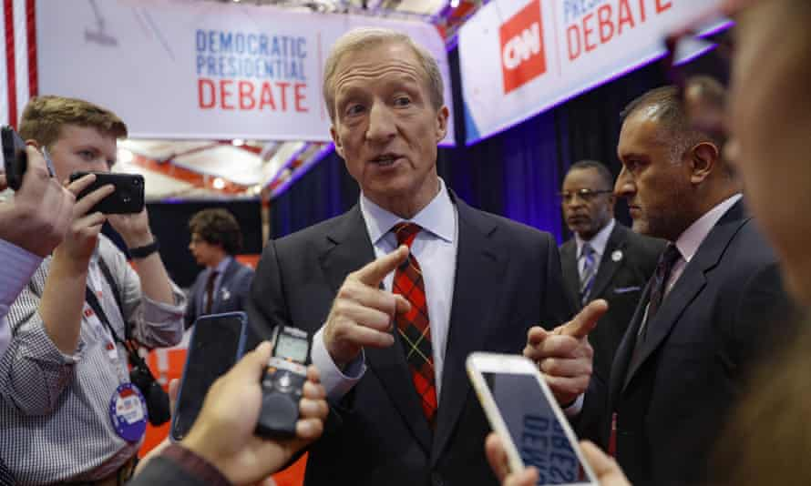 Tom Steyer speaks in the spin room following a Democratic presidential primary debate in Westerville, Ohio.