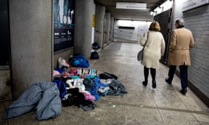 Homeless people had been sleeping in the Westminster tube tunnel.