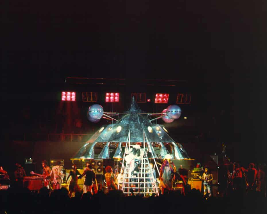 George Clinton as Dr Funkenstein descends from the mothership at a Parliament-Funkadelic show in Los Angeles in 1977.