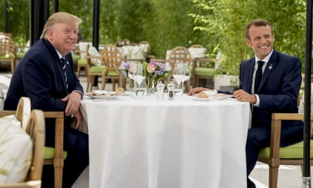 Donald Trump sits for lunch with French president Emmanuel Macron at the Hotel du Palais in Biarritz on Saturday.