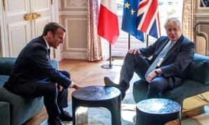 Macron and Johnson in the Élysée on Thursday.