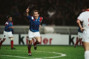 Jean-Pierre Papin celebrates after scoring against Belgium in March 1992.