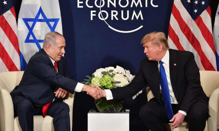 Donald Trump meets Benjamin Netanyahu in Davos. 'Israel has always supported the United States so what I did with Jerusalem was my honour,' said Trump.