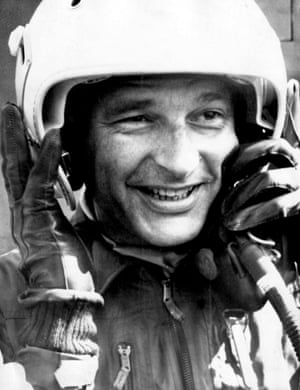 Chirac after riding in a Jaguar fighter plane in September 1975