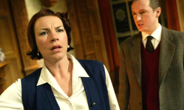 Shocking case … Lisa Barry and Matthew J Wilson in the 50th anniversary cast for The Mousetrap in 2002.