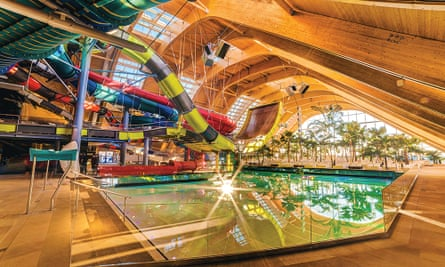 Waterslides in the Galaxy zone, Therme Bucharest