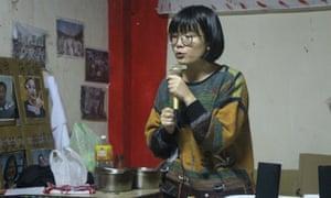 Cynthia Tang at the Daguan Anti-Eviction Movement meeting.