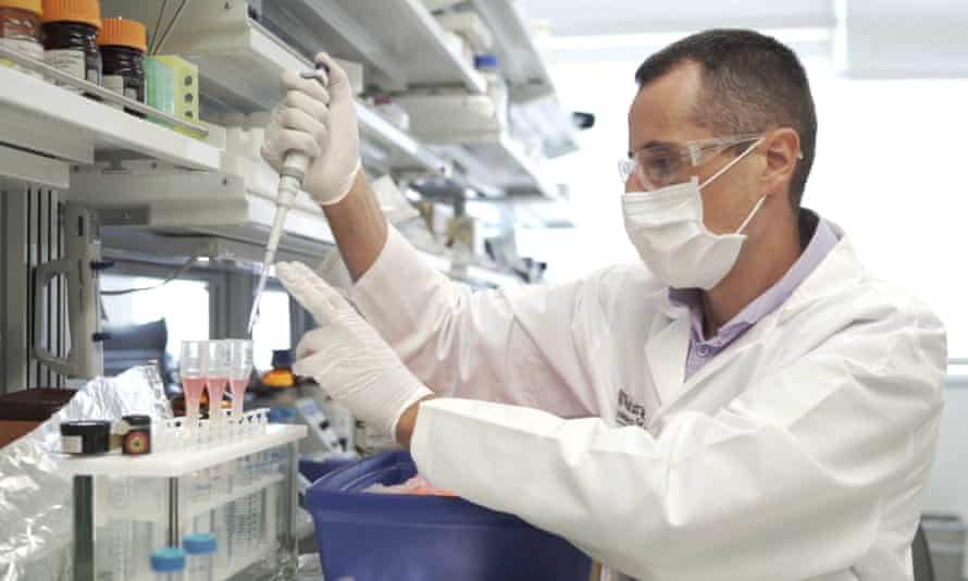Researcher Nicolas Barthelemy works on a p-tau217 test for Alzheimer's disease at a laboratory in St Louis, Missouri.