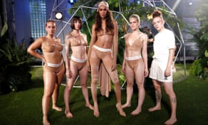 Five models in bronze-coloured underwear